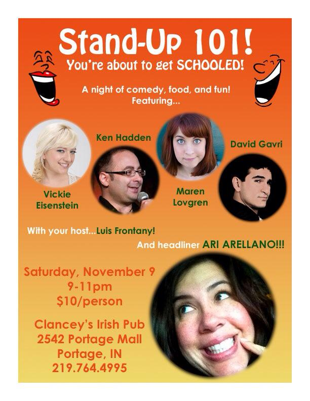 Stand-Up Show November 9 Portage Indiana Clancey's